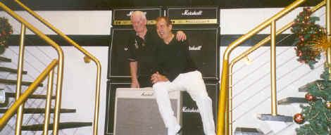 Jim Marshall presents Dec with his Gold Marshall Amp