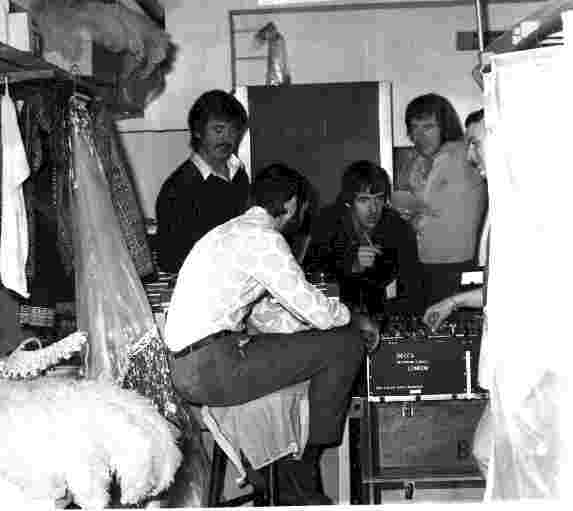Again, below, right from the start involved in writing and producing. Here using a theatre dressing room as a makeshift studio for a live recording.